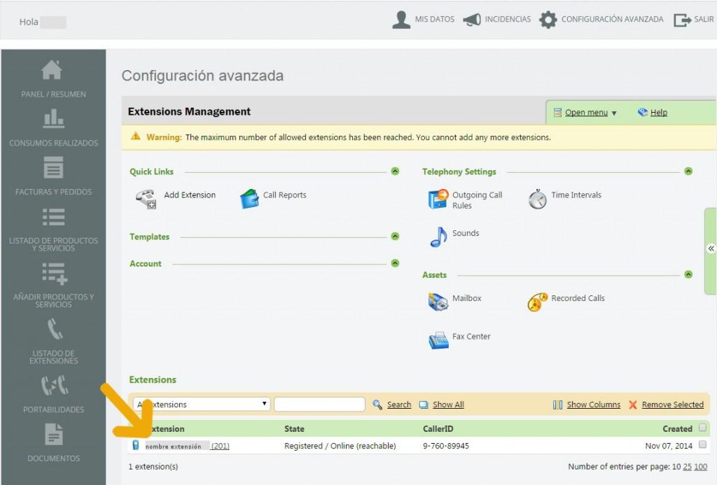telsome cuenta cliente configuracion avanzada extension