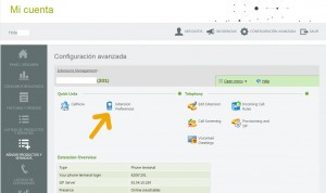 telsome cuenta cliente configuracion avanzada extension preferencias de la extension