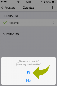 configuracion cuenta sip iphone telsome voip