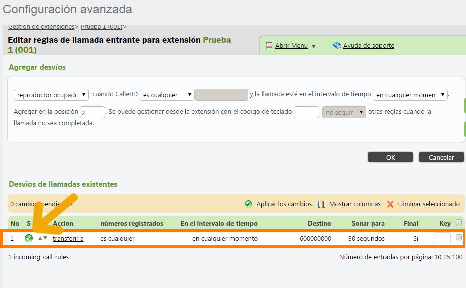 configuracion avanzada-extension-reglas entrantes-transferir no registrado ok