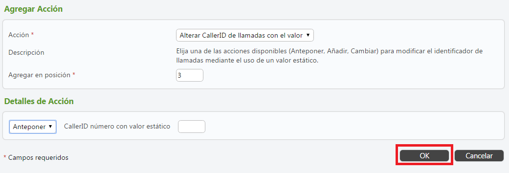 centralita virtual telsome alterar caller ID guardar