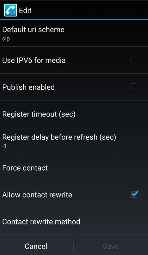CSipSimple manual configuracion voip Telsome register timeout