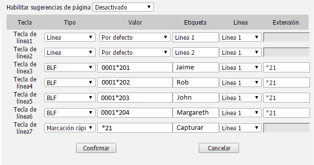 yealink t27p ejemplo configuracion teclas blf dss telsome