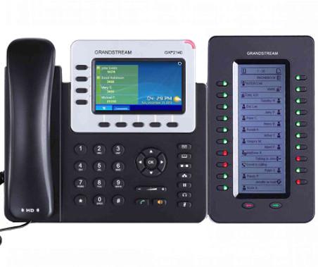 teléfono ip con módulo de expansión para operadoras