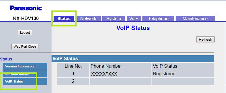 configuracion panasonic KX HDV130KX HDV230 cuenta sip line 1 VoIP status