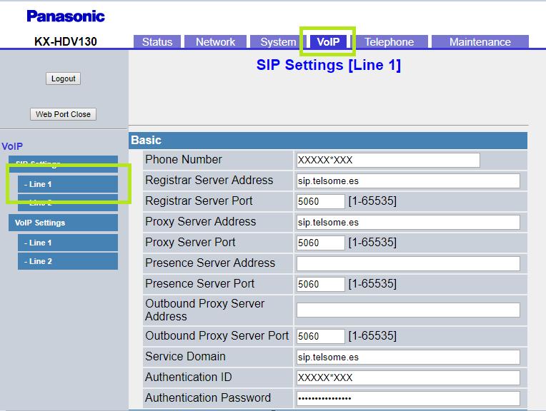 configuracion panasonic KX HDV130KX- cuenta sip line 1