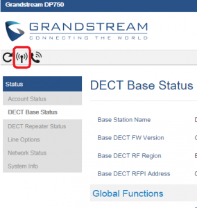 registrar telefono inalambrico grandstream dp720 base dp750 web base status antena