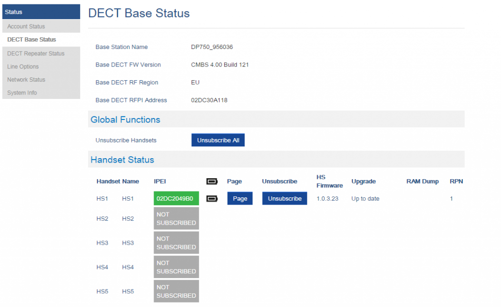 registrar telefono inalambrico grandstream dp720 base dp750 web base status status