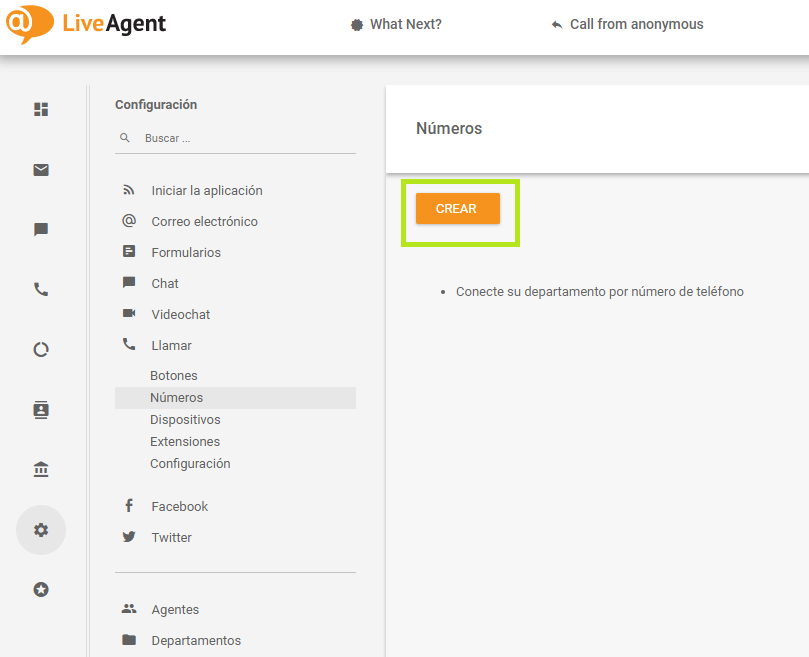 liveagent telsome configuracion telefonia empresas crear