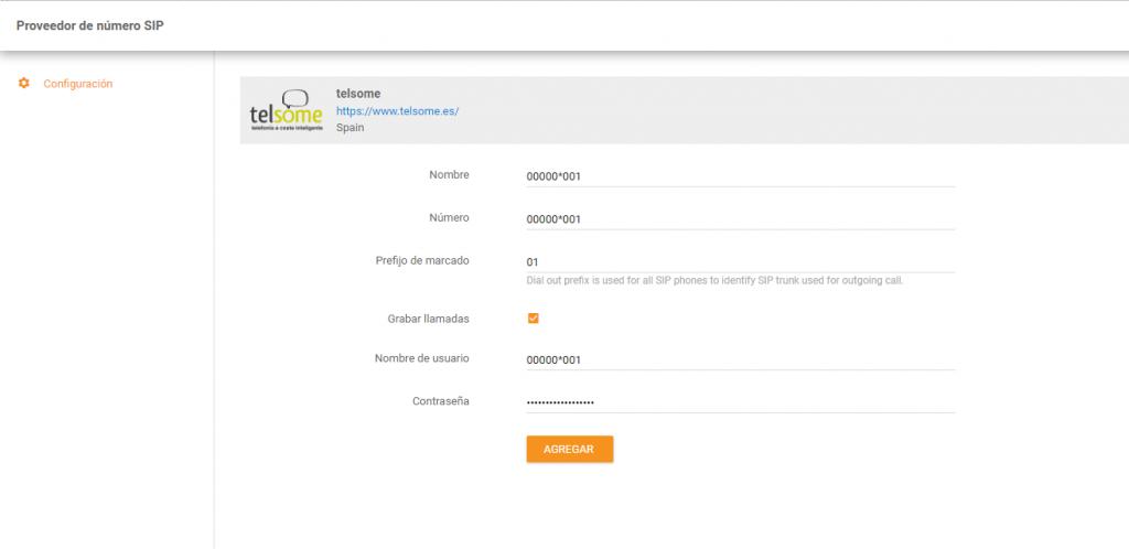 liveagent telsome configuracion telefonia empresas datos registro sip